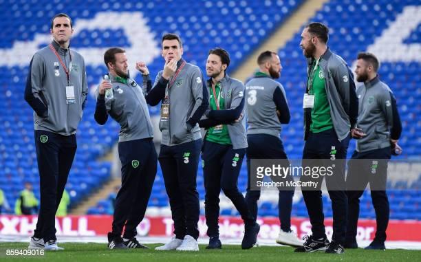 Cardiff United Kingdom 9 October 2017 Republic of Ireland players from left John O'Shea Aiden McGeady Seamus Coleman Harry Arter David Meyler Richard...