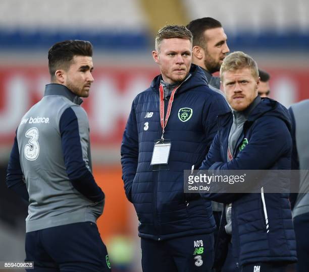 Cardiff United Kingdom 9 October 2017 Sean Maguire left Aiden O'Brien centre and Daryl Horgan of Republic of Ireland prior to the FIFA World Cup...
