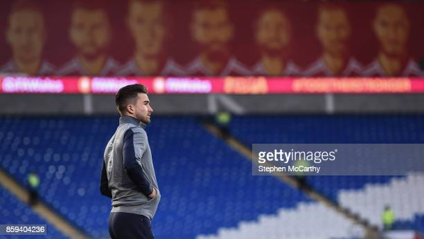 Cardiff United Kingdom 9 October 2017 Sean Maguire of Republic of Ireland arrives prior to the FIFA World Cup Qualifier Group D match between Wales...