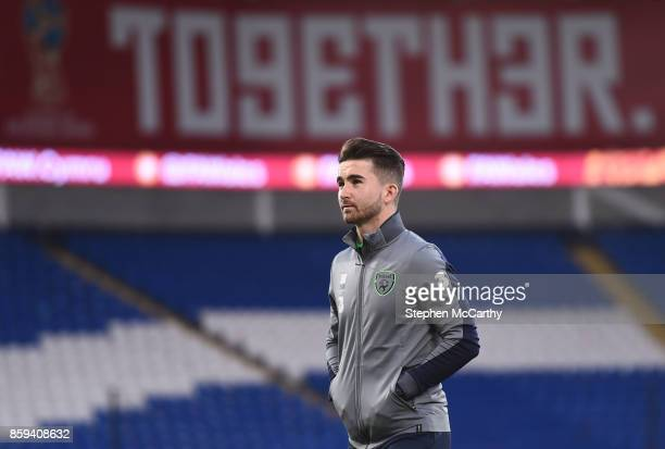 Cardiff United Kingdom 9 October 2017 Sean Maguire of Republic of Ireland prior to the FIFA World Cup Qualifier Group D match between Wales and...