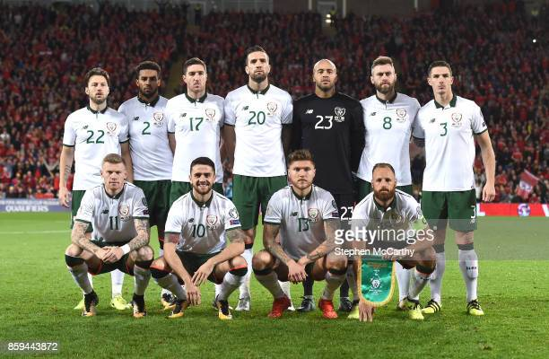 Cardiff United Kingdom 9 October 2017 The Republic of Ireland team back row from left to right Harry Arter Cyrus Christie Stephen Ward Shane Duffy...