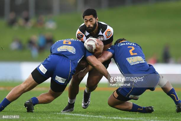 Cardiff Vaega of Hawke's Bay looks for a gap during the round four Mitre 10 Cup match between Hawke's Bay and Otago at McLean Park on September 10...
