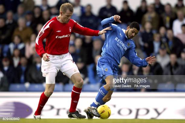 Cardiff's Jobi McAnuff is challenged by Jon Olav Hjelde of Nottingham Fores THIS PICTURE CAN ONLY BE USED WITHIN THE CONTEXT OF AN EDITORIAL FEATURE...