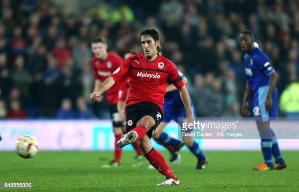 Cardiff's Peter Whittingham scores his teams equalising goal from the penalty spot during the npower Football League Championship match at Cardiff...
