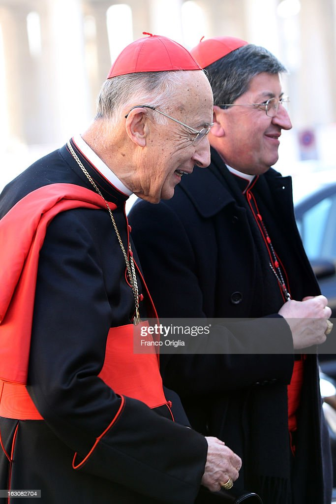 Cardinal Camillo Ruini (L) and Archbishop of Florence cardinal Giuseppe Betori (R) arrive at the Paul VI hall for the opening of the Cardinals' Congregations on March 4, 2013 in Vatican City, Vatican.The congregations of cardinals will continue until all cardinal electors have arrived in Rome, whereupon the College will decide on the start-date of the Conclave to elect a new Pope.