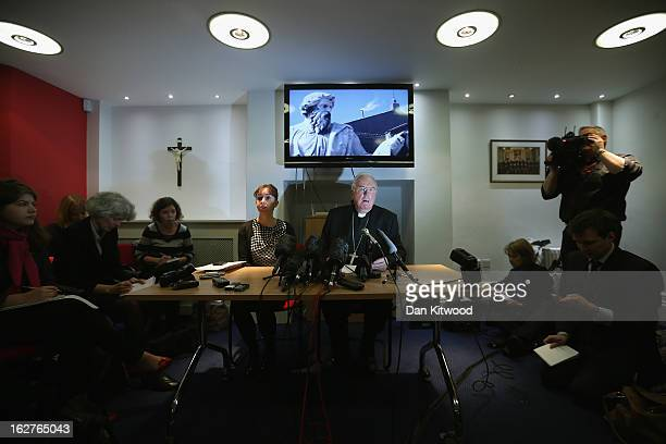 Cardinal Cormac MurphyO'Connor former Archbishop of Westminster speaks during a press conference at the Catholic Bishops Conference of England and...