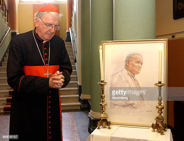 Cardinal Cormac MurphyO'Connor reflects on the life of John Paul II in the foyer of Archbishop's House in Westminster Cathedral in London England...