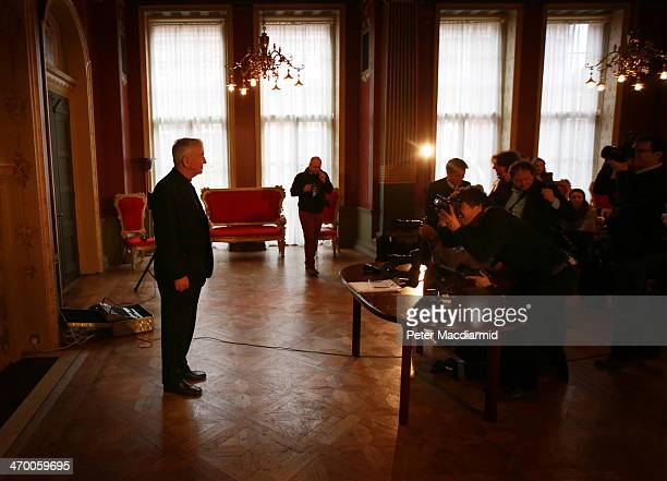 Cardinal Designate Archbishop Vincent Nichols poses for photographs after speaking to reporters on February 18 2014 in London England The Archbishop...