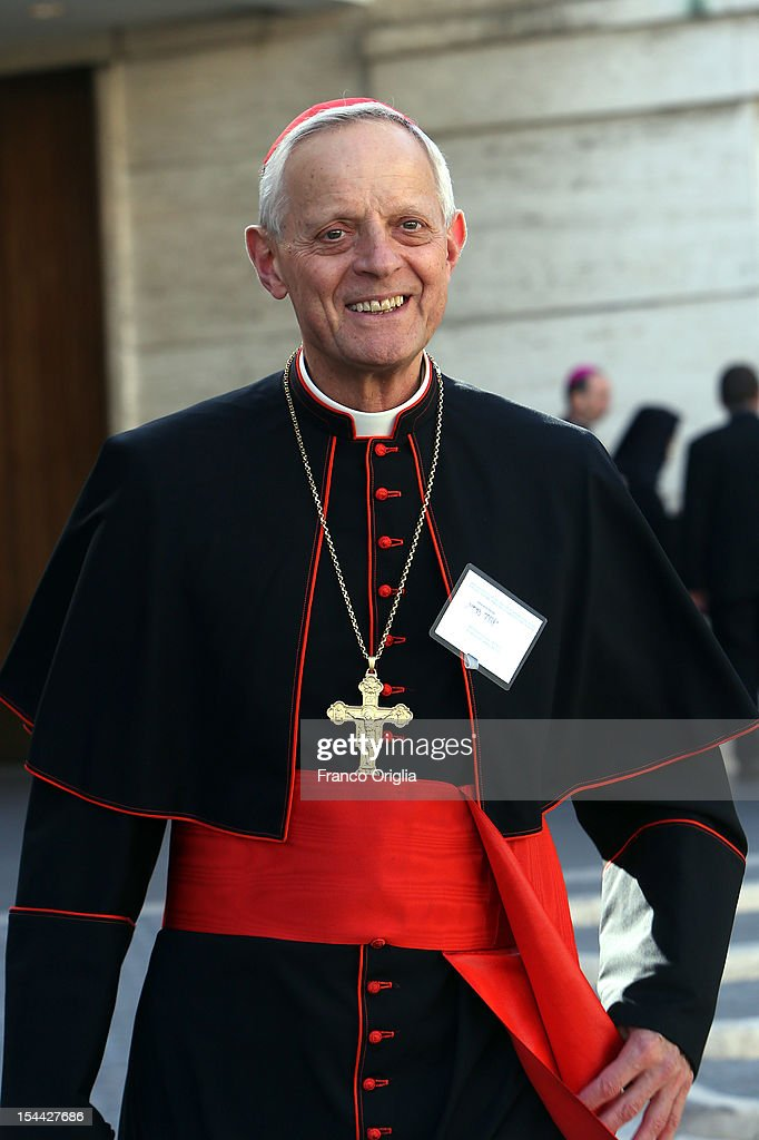 Cardinal <a gi-track='captionPersonalityLinkClicked' href=/galleries/search?phrase=Donald+William+Wuerl&family=editorial&specificpeople=776055 ng-click='$event.stopPropagation()'>Donald William Wuerl</a>, Archbishop of Washington, attends the Synod of Bishops for The New Evangelization for the Transmission of the Christian Faith at the Synod hall on October 19, 2012 in Vatican City, Vatican. The Synod of Bishops was established by Pope Paul Vl in 1965 after The Second Vatican Council to advise the Pope in growing the faith throughout the world.