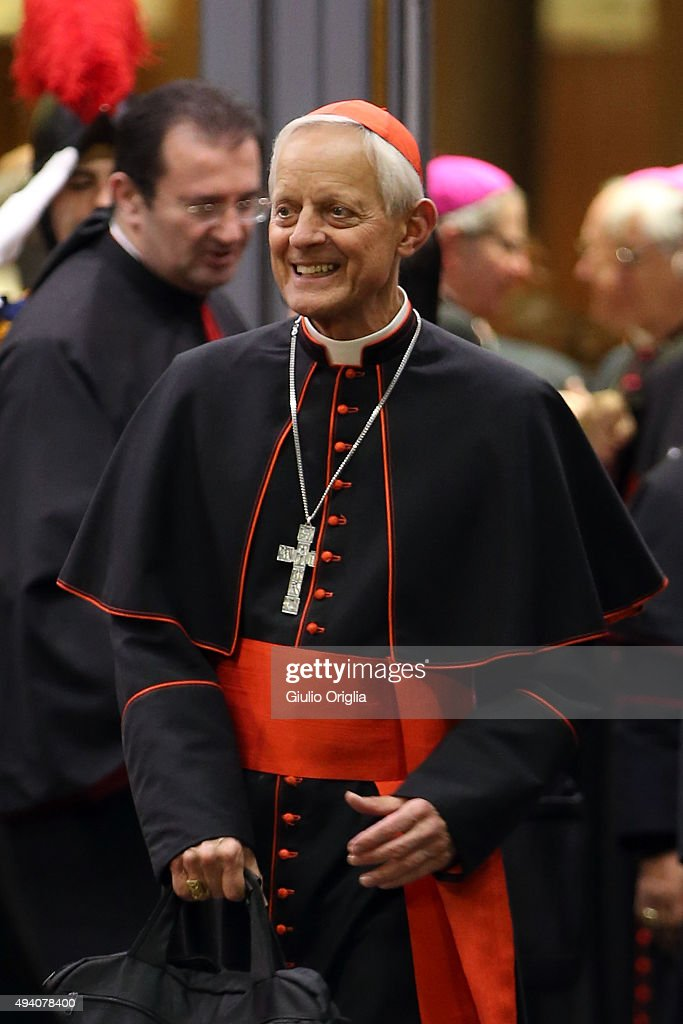 Cardinal Donald Wuerl leaves the closing session of the Synod on the themes of family the at Synod Hall on October 24, 2015 in Vatican City, Vatican. The final document has been welcomed by most as a carefully crafted work of art which seeks to balance the very different views and cultural perspectives of all Synod participants.