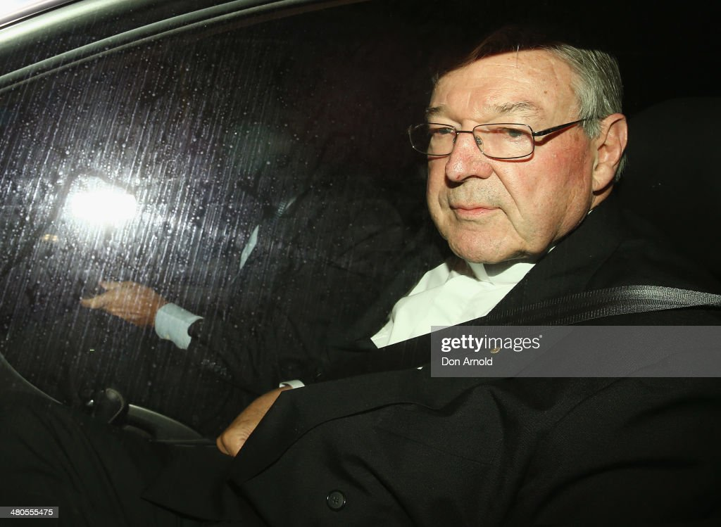Cardinal <a gi-track='captionPersonalityLinkClicked' href=/galleries/search?phrase=George+Pell&family=editorial&specificpeople=695294 ng-click='$event.stopPropagation()'>George Pell</a> arrives for his appearance at the Royal Commission on March 26, 2014 in Sydney, Australia. Cardinal Pell is facing the Royal Commission into Institutional Responses to Child Sexual Abuse in Sydney to answer questions about whether he was involved in compensation discussions related to the case of John Ellis who was sexually abused by Father Aidan Duggan.Cardinal Pell will soon move to Rome to undertake a senior role at the Vatican.
