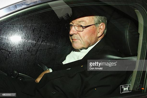 Cardinal George Pell arrives for his appearance at the Royal Commission on March 26 2014 in Sydney Australia Cardinal Pell is facing the Royal...