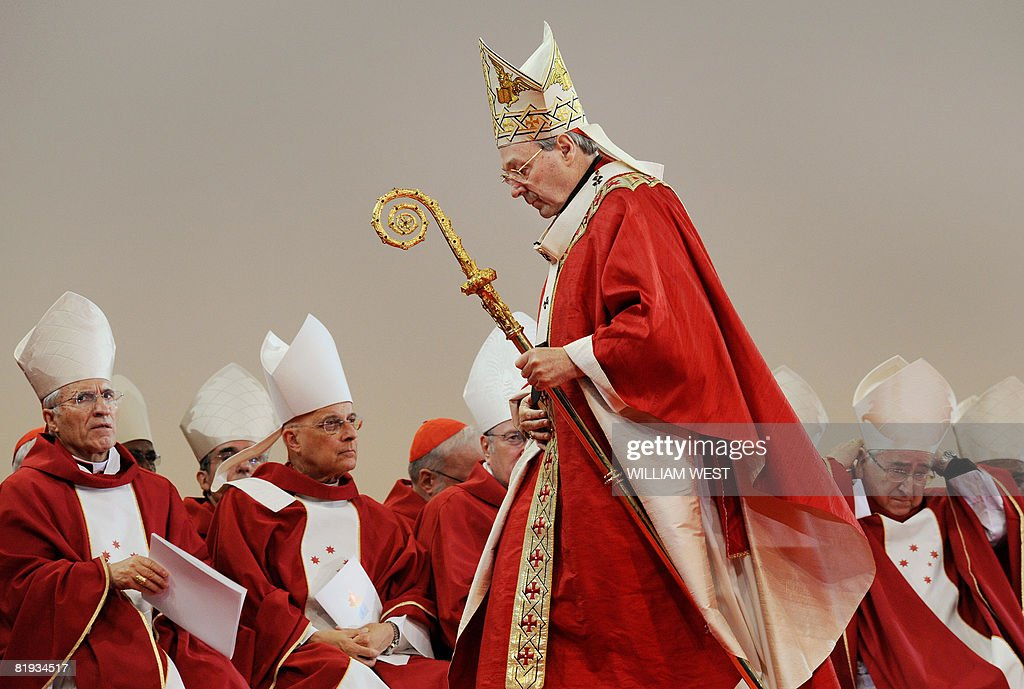 Cardinal George Pell officiates the opening mass of World Youth Day (WYD), in Sydney on July 15, 2008. Pope Benedict XVI who did not attend this mass as he rests, is to lead the six-day celebration starting today for the event which is expected to attract up to 125,000 international visitors and that will culminate in a papal mass before an estimated 500,000 people in Sydney July 20. AFP PHOTO/William WEST