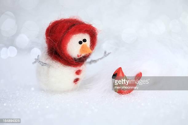Cardinal in Snow Hello