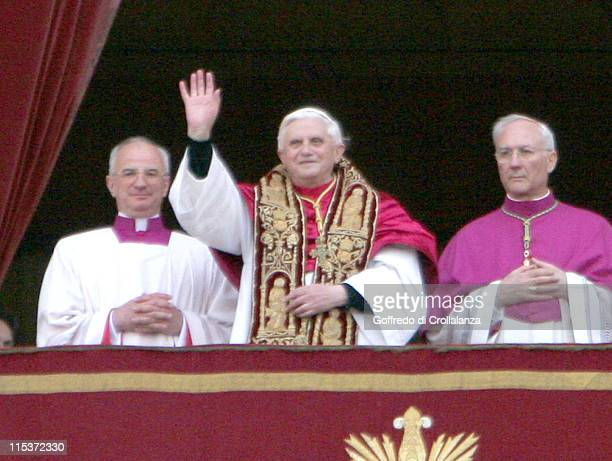 Cardinal Joseph Ratzinger is named as the New Pope Benedict XVI after just 24 hours of the Cardinals Conclave at St Peter's Basilica in the Vatican...