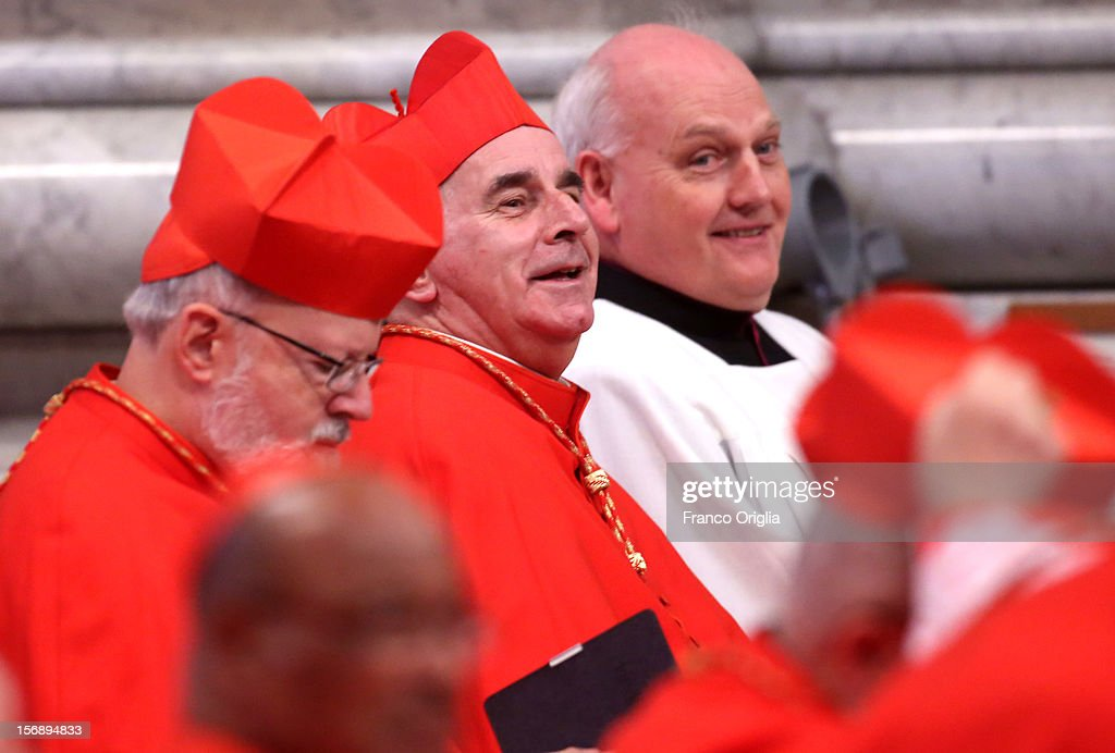 Cardinal Keith O'Brien (C), archbishop of Saint Andrews and Edinburgh attends a concistory held by Pope Benedict XVI at Saint Peter's Basilica on November 24, 2012 in Vatican City, Vatican. The Pontiff installed 6 new cardinals during the ceremony, who will be responsible for choosing his successor.