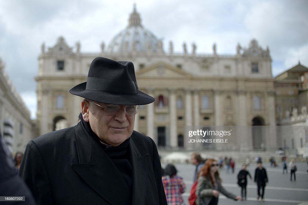 US cardinal Leo Raymond Burke walks on St Peter's square after a cardinals' meeting on the eve of the start of a conclave on March 11 2013 at the...