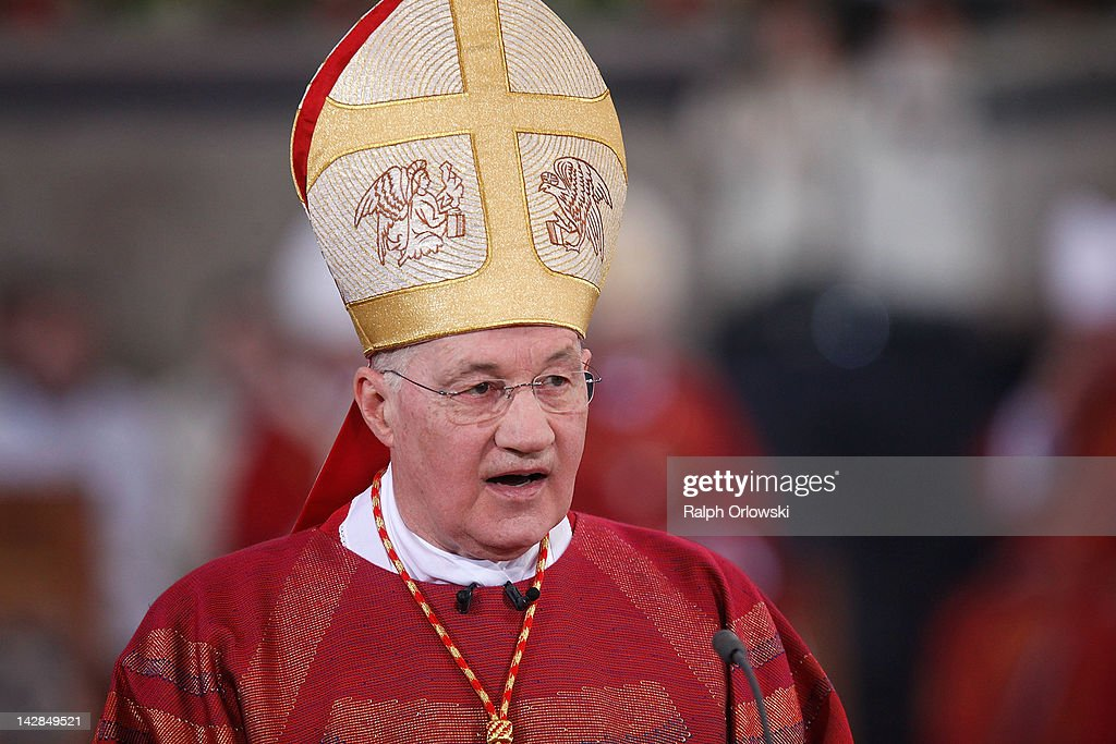 Cardinal Marc Ouellet holds a mass in celebration of The Pilgrimage of the Holy Robe at the Cathedral of St Peter on April 13, 2012 in Trier, Germany. The Pilgrimage of the Holy Robe runs from April 13 to May 13, during which hundreds of thousands pilgrims are expected to view the Holy Robe. The robe, said to have been worn by Jesus Christ leading up to his crucifixion, is housed by the cathedral and rarely displayed for public viewing.