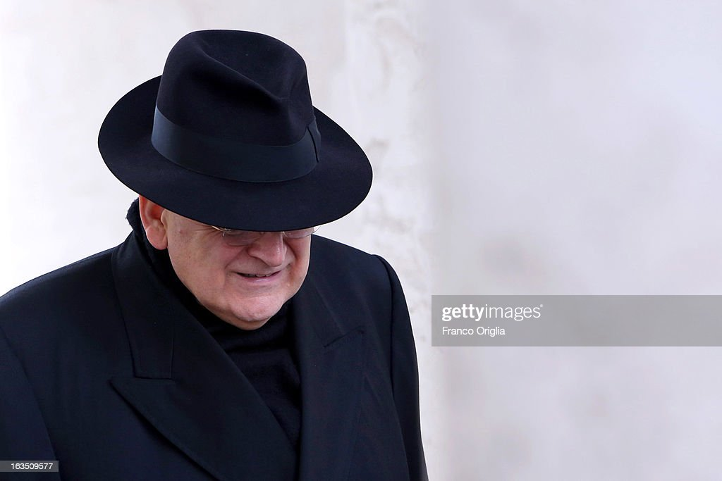 Cardinal Raymond Burke leaves the final congregation before cardinals enter the conclave to vote for a new pope on March 11 2013 in Vatican City...