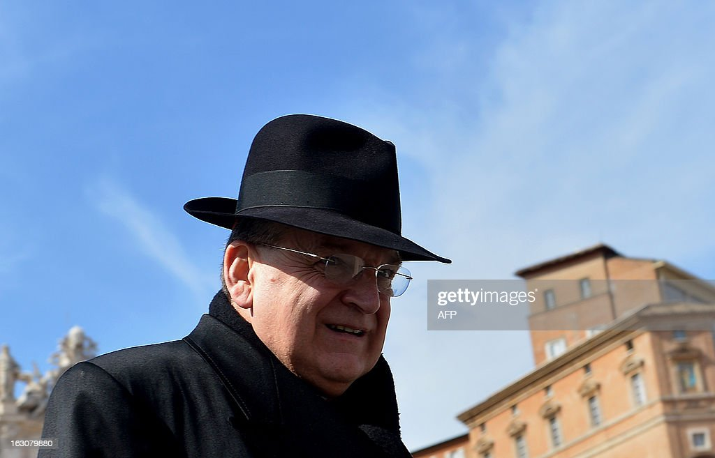 US cardinal Raymond Leo Burke walks during a break of a meeting of a conclave to elect a new pope on March 4, 2013 at the Vatican. The Vatican meetings will set the date for the start of the conclave this month and help identify candidates among the cardinals to be the next leader of the world's 1.2 billion Catholics.