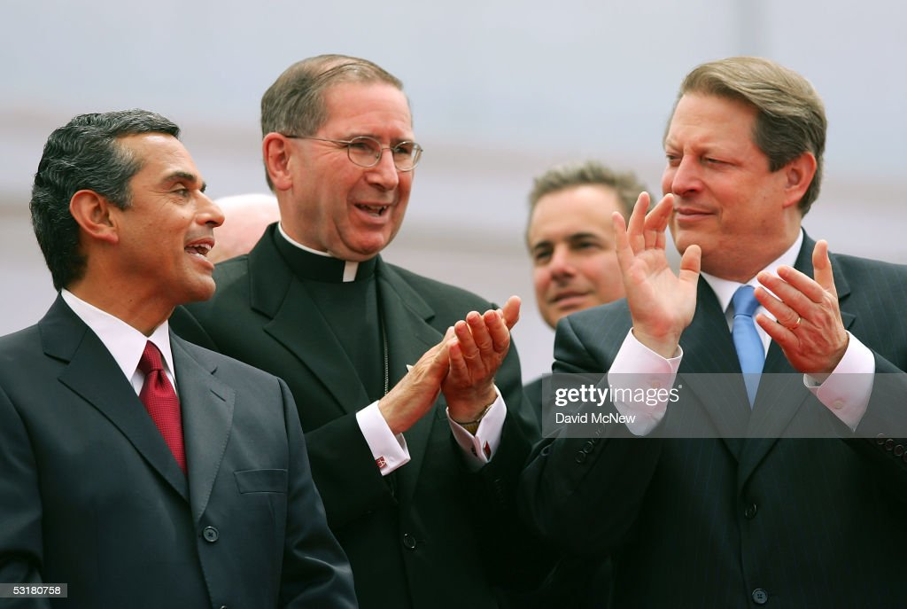 Cardinal Roger Mahony (C) and former Vice President Al Gore (R) congratulate Los Angeles Mayor Antonio Villaraigosa (L) after he is sworn in to office on the steps of City Hall July 1, 2005 in Los Angeles, California. Villaraigosa is the city's first Hispanic mayor in more than a century.