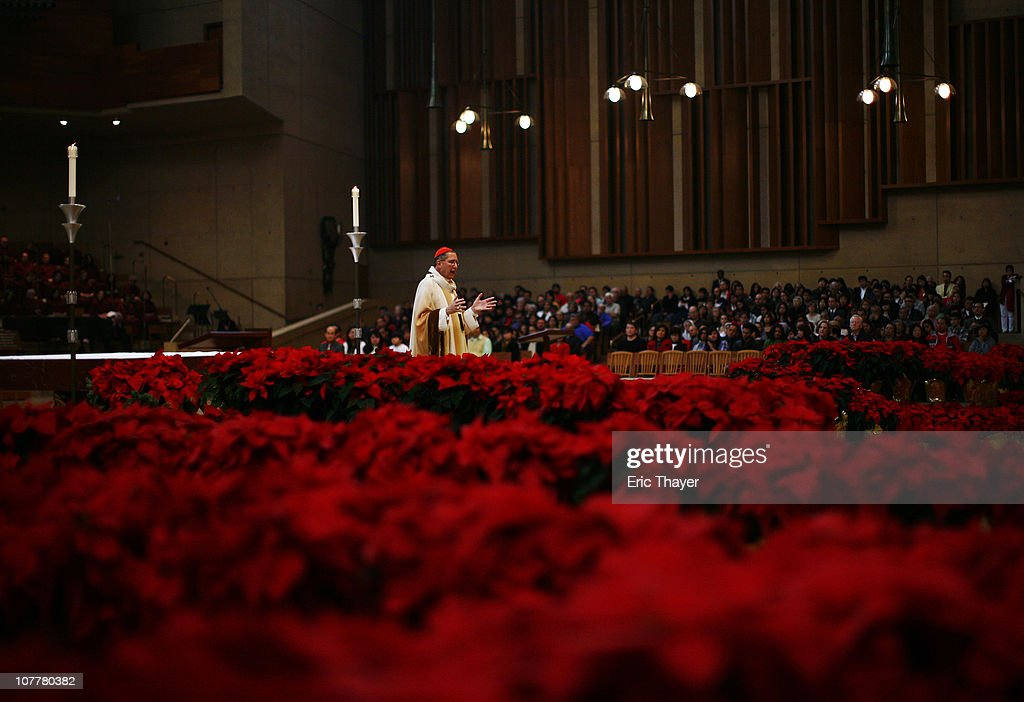 Cardinal <a gi-track='captionPersonalityLinkClicked' href=/galleries/search?phrase=Roger+Mahony&family=editorial&specificpeople=664416 ng-click='$event.stopPropagation()'>Roger Mahony</a> leads Christmas mass at The Cathedral of Our Lady of the Angels December 25, 2010 in Los Angeles, California. Services and celebrations marked the holiday throughout the world Saturday.