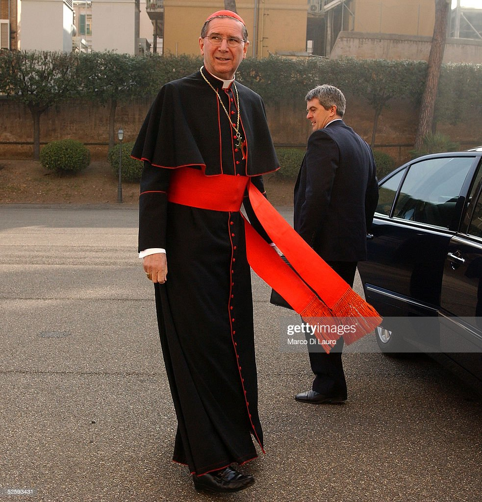 Cardinal Roger Michael Mahony Archbishop of Los Angeles walks towards the lobby of the North American College April 6 2005 in Rome The North American...
