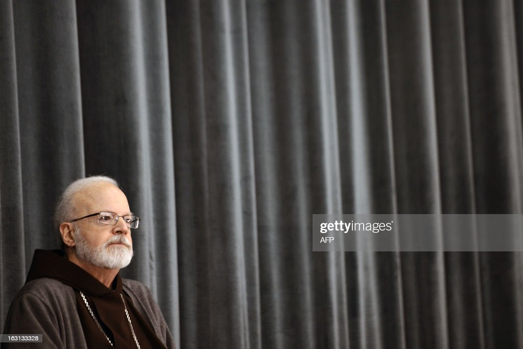 US cardinal Sean Patrick O'Malley listens during a press conference at the North American College on March 5, 2013 in Rome. The Vatican said Tuesday that the date for the conclave to elect a new pope could be set before all cardinals have arrived in Rome, as five electors were still missing from the roll call.