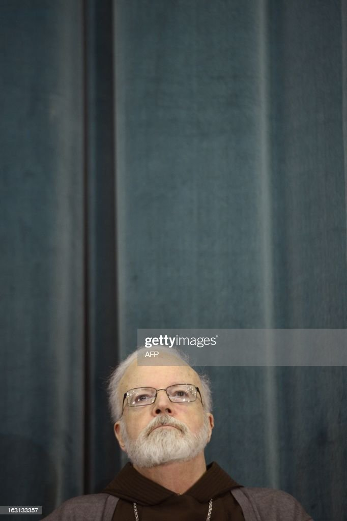 US cardinal Sean Patrick O'Malley listens during a press conference at the North American College on March 5, 2013 in Rome