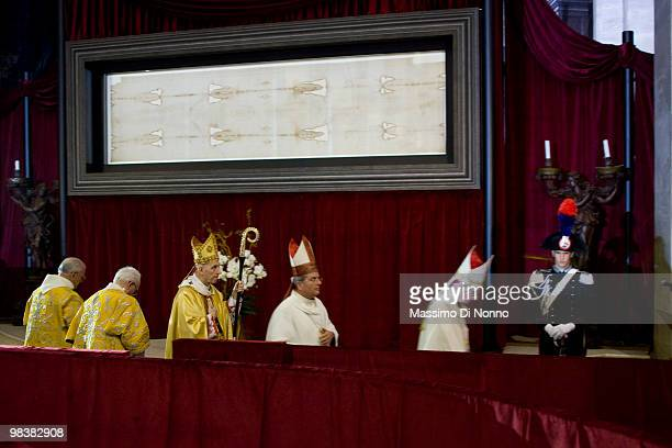 Cardinal Severino Poletto walks in front of the Shroud during of the Solemn Exposition Of The Holy Shroud on April 10 2010 in Turin Italy The Holy...