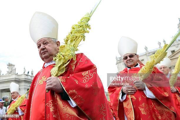 Cardinal Stanislaw Dziwisz Archbishop of Krakow and personal segretary of Pope John Paul II attends Palm Sunday Mass celebrated by Pope Francis at St...