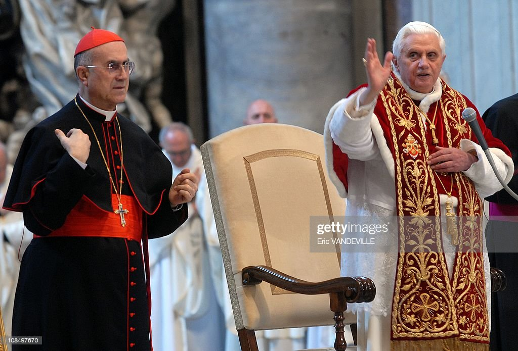 Cardinal <a gi-track='captionPersonalityLinkClicked' href=/galleries/search?phrase=Tarcisio+Bertone&family=editorial&specificpeople=549351 ng-click='$event.stopPropagation()'>Tarcisio Bertone</a> before celebrating a mass at Saint Peter basilica Close-up: Cardinal <a gi-track='captionPersonalityLinkClicked' href=/galleries/search?phrase=Tarcisio+Bertone&family=editorial&specificpeople=549351 ng-click='$event.stopPropagation()'>Tarcisio Bertone</a>, Vatican Secretary of State since september 2006. The Secretary of State is the 2nd-ranking official at the Vatican, with broad authority over the internal and external policies of the Holy See. Acting effectively as 'prime minister' for the Roman Pontiff, the Secretary of State coordinates the flow of work at the Holy See, and exerts sweeping influence over other offices of the Roman Curia. A 71-year-old Salesian, Cardinal Bertone served from 1995 to 2002 as secretary of the Congregation for the Doctrine of the Faith, where he was deputy to then-Cardinal Joseph Ratzinger. Unlike most prelates who have served as Secretary of State in recent years, Cardinal Bertone has never been active in the Vatican diplomatic corps; he is the first non-diplomat to occupy the office since Cardinal Jean Villot was appointed by Pope Paul VI in 1969.