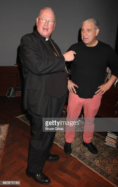 Cardinal Timothy Dolan and Max McLean as 'CS Lewis' pose backstage at the play 'The Most Reluctant Convert' at The Acorn Theatre on May 13 2017 in...