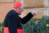 Cardinal Timothy Dolan arrives at the closing session of the Synod on the themes of family the at Synod Hall on October 24 2015 in Vatican City...