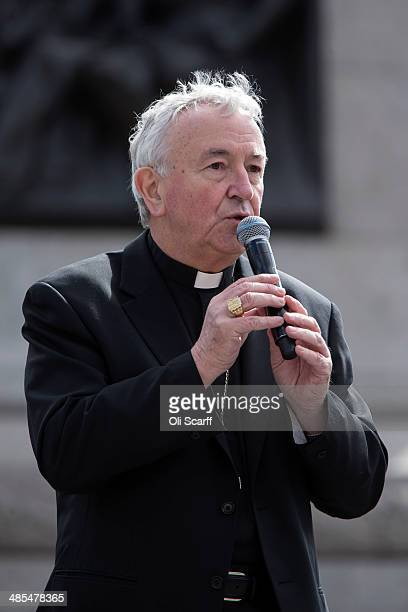 Cardinal Vincent Nichols delivers closing prayers following the Wintershall Players' performance of 'The Passion of Jesus' on Good Friday to crowds...