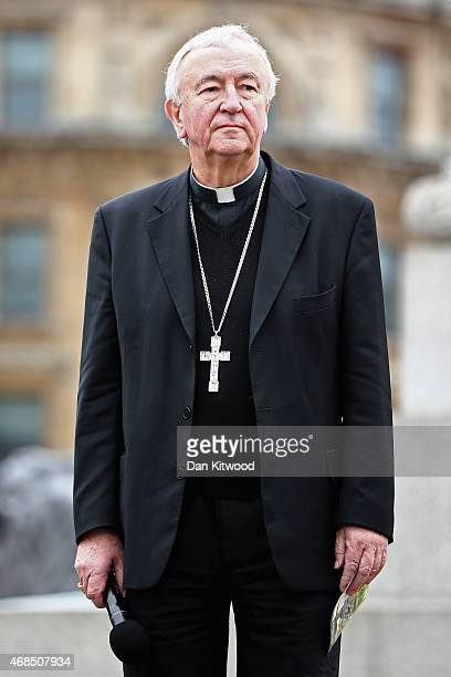 Cardinal Vincent Nichols speaks to the crowd after the Wintershall's 'The Passion of Jesus' is performed in front of crowds on Good Friday in...