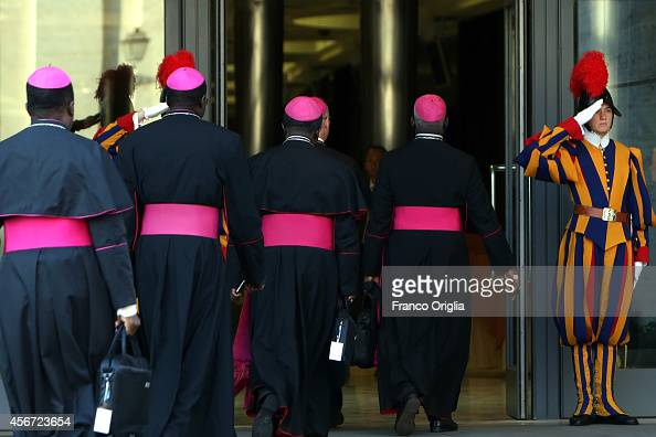 Cardinals and bishops arrives at the Synod Hall for the opening of the Synod on the themes of family on October 6 2014 in Vatican City Vatican The...