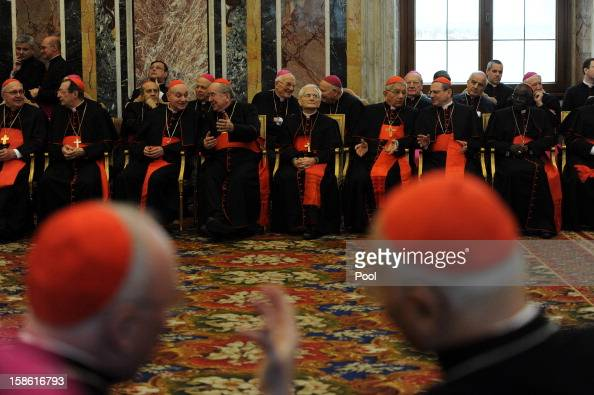 Cardinals and bishops attend a ceremony for the Christmas greetings to Pope Benedict XVI at the Clementina Hall on December 21 2012 in Vatican City...