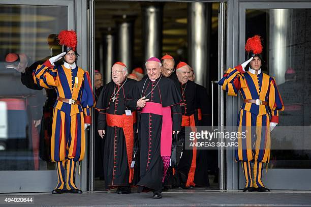 Cardinals and bishops leave the morning session of the last day of the Synod on the Family at the Vatican on October 24 2015 Pontiff on October 4...