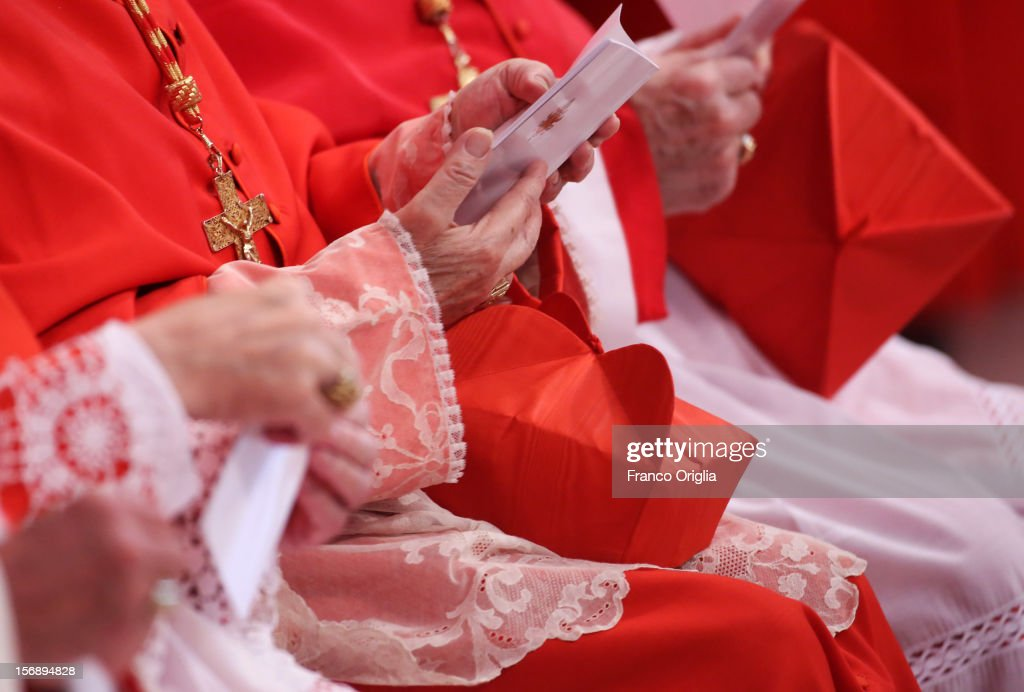 Cardinals attend a concistory held by Pope Benedict XVI at Saint Peter's Basilica on November 24, 2012 in Vatican City, Vatican. The Pontiff installed 6 new cardinals during the ceremony, who will be responsible for choosing his successor.
