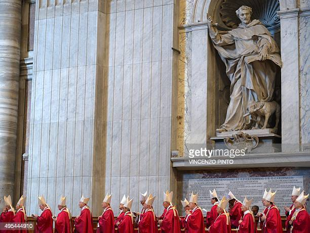 Cardinals attend a mass for the 'Repose of the Souls of the Cardinals and Bishops who died over the course of the year' on November 3 2015 at the...