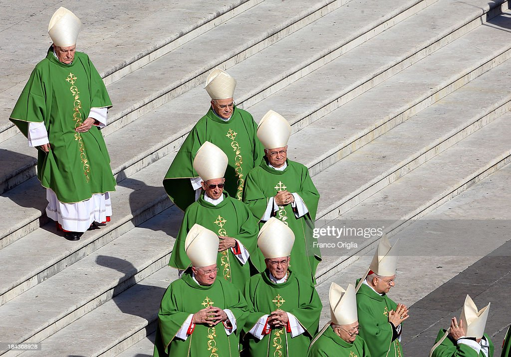 Cardinals attend a mass held by Pope Francis in Saint Peter's Square on the occasion of the Marian Day on October 13, 2013 in Vatican City, Vatican. Pope Francis consecrated the world to the Immaculate Heart of Mary as part of Marian Day celebrations that will involve the statue of Our Lady of Fatima. The statue is normally kept in the Shrine of Fatima in Portugal but is in Rome this weekend for the consecration which is one of the highlights of the ongoing Year of Faith.