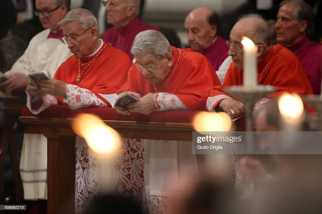 Cardinals attend Ash Wednesday Mass at St. Peter's Basilica on February 10, 2016 in Vatican City, Vatican. Ash Wednesday opens the liturgical 40 day period of Lent; encouraging prayer, fasting, penitence and alms giving, leading up to Easter. The Pontiff will leave on Friday for Cuba and Mexico where he will hold an unprecedented meeting with Patriarch Kirill of Moscow and All Russia on February 12th.