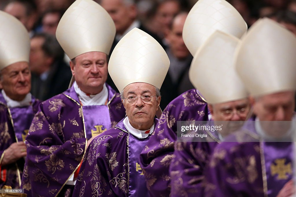 Cardinals attend the Ash Wednesday service held by Pope Benedict XVI at St. Peter's Basilica on February 13, 2013 in Vatican City, Vatican. Ash Wednesday opens the liturgical 40-day period of Lent, a time of prayer, fasting, penitence and alms giving leading up to Easter.