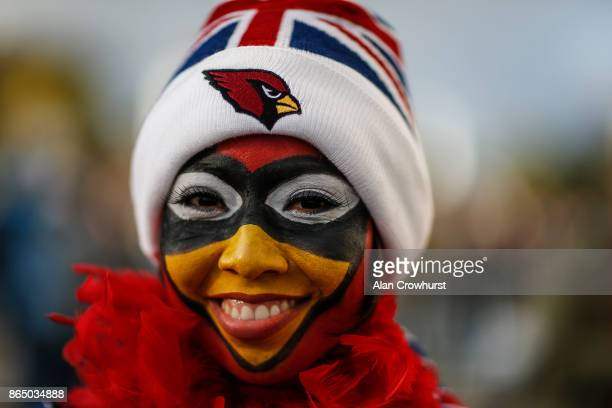 Cardinals fan during the NFL match between the Arizona Cardinals and the Los Angeles Rams at Twickenham Stadium on October 22 2017 in London England