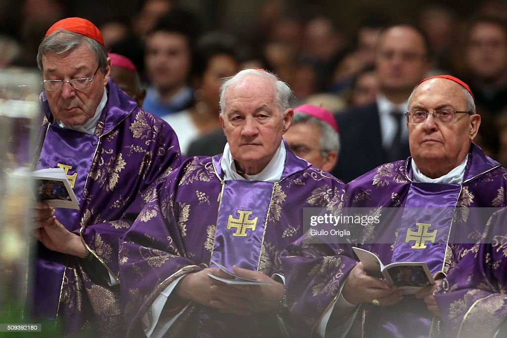 Cardinals <a gi-track='captionPersonalityLinkClicked' href=/galleries/search?phrase=George+Pell&family=editorial&specificpeople=695294 ng-click='$event.stopPropagation()'>George Pell</a> (L) and <a gi-track='captionPersonalityLinkClicked' href=/galleries/search?phrase=Marc+Ouellet&family=editorial&specificpeople=3145328 ng-click='$event.stopPropagation()'>Marc Ouellet</a> (C) attend Ash Wednesday Mass at St. Peter's Basilica on February 10, 2016 in Vatican City, Vatican. Ash Wednesday opens the liturgical 40 day period of Lent; encouraging prayer, fasting, penitence and alms giving, leading up to Easter. The Pontiff will leave on Friday for Cuba and Mexico where he will hold an unprecedented meeting with Patriarch Kirill of Moscow and All Russia on February 12th.