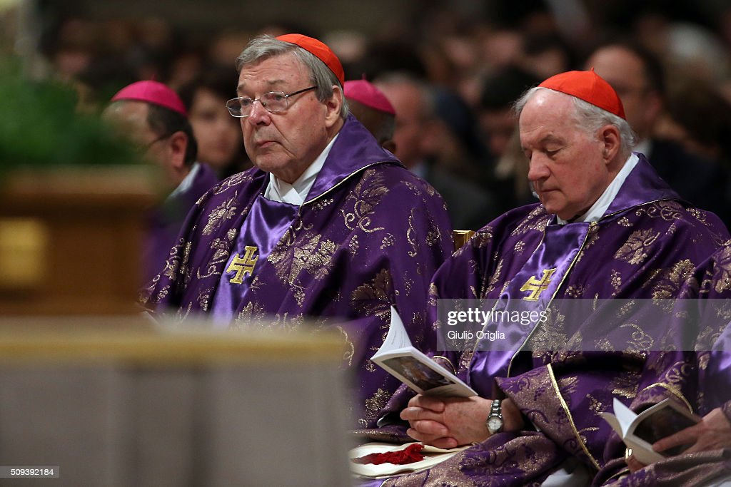 Cardinals George Pell (L) and Marc Ouellet attend Ash Wednesday Mass at St. Peter's Basilica on February 10, 2016 in Vatican City, Vatican. Ash Wednesday opens the liturgical 40 day period of Lent; encouraging prayer, fasting, penitence and alms giving, leading up to Easter. The Pontiff will leave on Friday for Cuba and Mexico where he will hold an unprecedented meeting with Patriarch Kirill of Moscow and All Russia on February 12th.