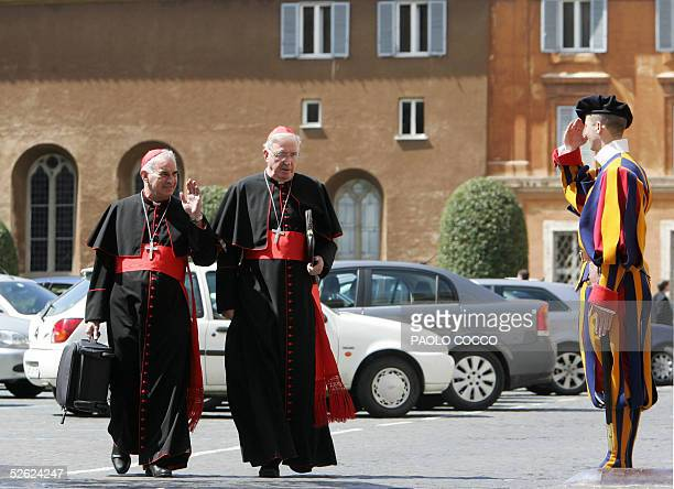 Cardinals Keith Michael Patrick O'Brien of Scotland and British Cormac Murphy O'Connor leave Paul VI hall at the end of the General Congregation...