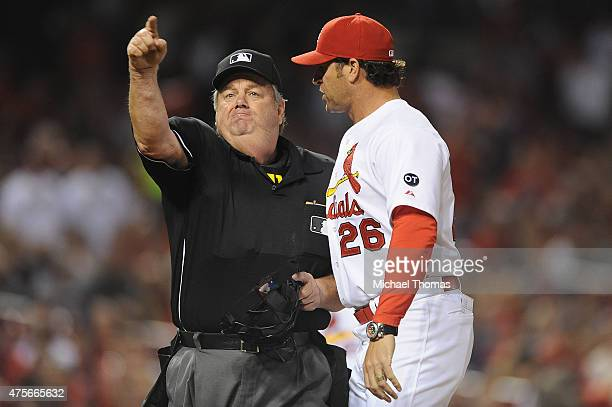 Cardinals Manager Mike Matheny is ejected in the in the seventh inning against the Milwaukee Brewers as he disputed a call at Busch Stadium on June 2...