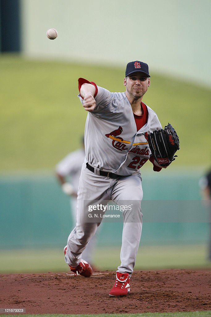 Cardinals starting pitcher <a gi-track='captionPersonalityLinkClicked' href=/galleries/search?phrase=Chris+Carpenter+-+Baseball+Player&family=editorial&specificpeople=208139 ng-click='$event.stopPropagation()'>Chris Carpenter</a> during action between the St. Louis Cardinals and Kansas City Royals at Kauffman Stadium in Kansas City, Missouri on May 19, 2006. St. Louis won 9-6.